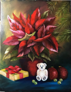 Poinsettia and Company Oil Painting Tutorial