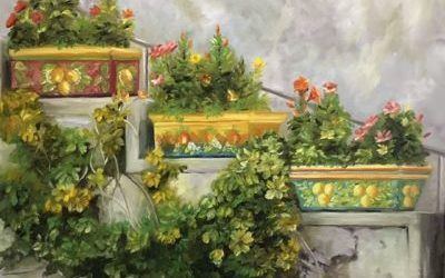 Garden Steps – Step by step – oil painting from a photo reference