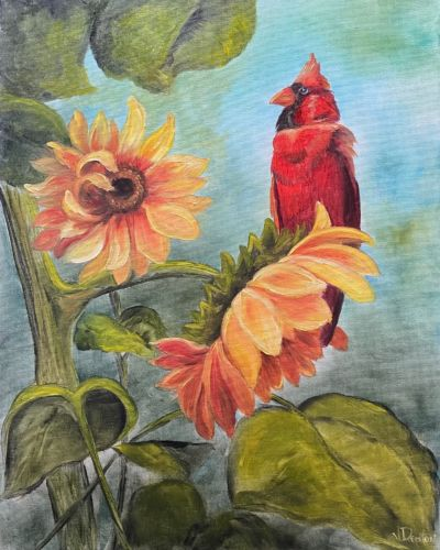 Standing Tall – Sunflowers with a Red Bird