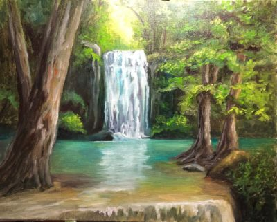 Enchanted Forest Falls Oil Painting Tutorial