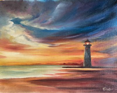 Evening Lighthouse Oil Painting Tutorial