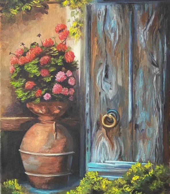 Blue Door Geraniums Oil Painting Tutorial