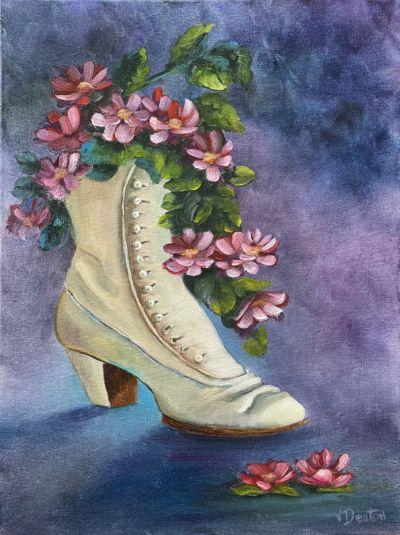 Vintage Boot Garden Oil Painting Tutorial